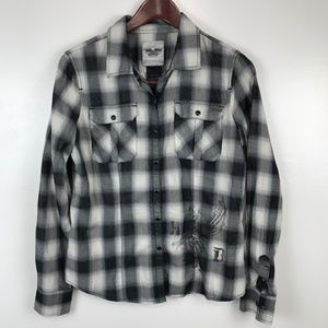 Harley Davison Plaid Shirt Snap Front Top Eagle